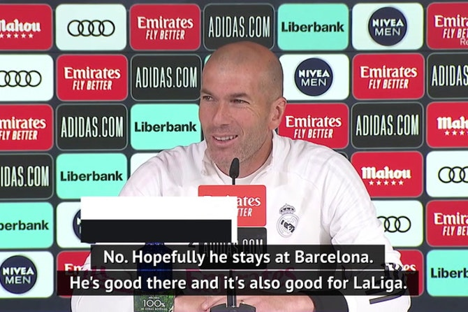 Zidane hopes Messi stays at Barca