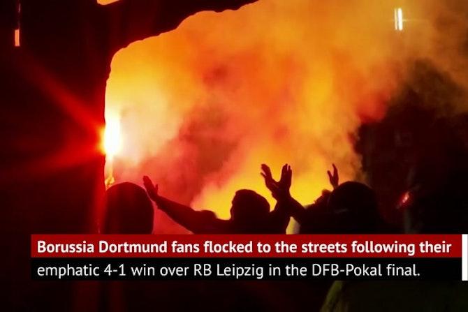 Dortmunders celebrate DFB-Pokal win over Leipzig