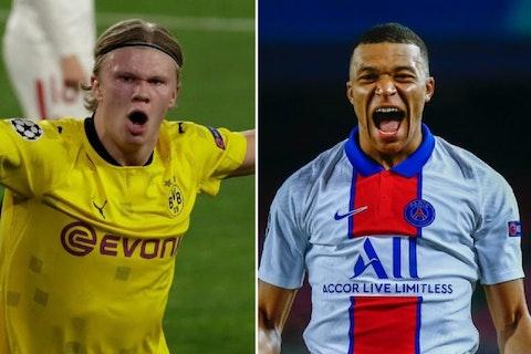 Article image: https://image-service.onefootball.com/crop/face?h=810&image=https%3A%2F%2Ficdn.caughtoffside.com%2Fwp-content%2Fuploads%2F2021%2F04%2FErling-Haaland-Borussia-Dortmund-Kylian-Mbappe-Paris-Saint-Germain.jpg&q=25&w=1080