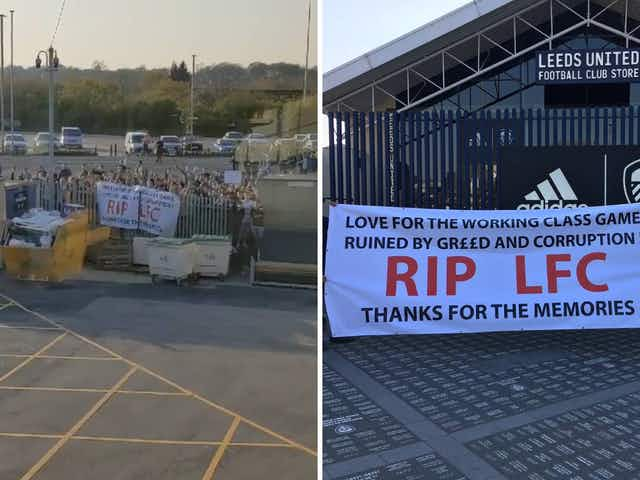 Video: Fans stage anti-European Super League protest outside Elland Road ahead of Leeds vs Liverpool
